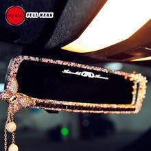 1 unid Flor de Mariposa de Bling Del Diamante Coche Espejo Retrovisor Interior Espejo Retrovisor Interior Del coche Decoración para Niñas Mujeres Accesorios de Automóviles