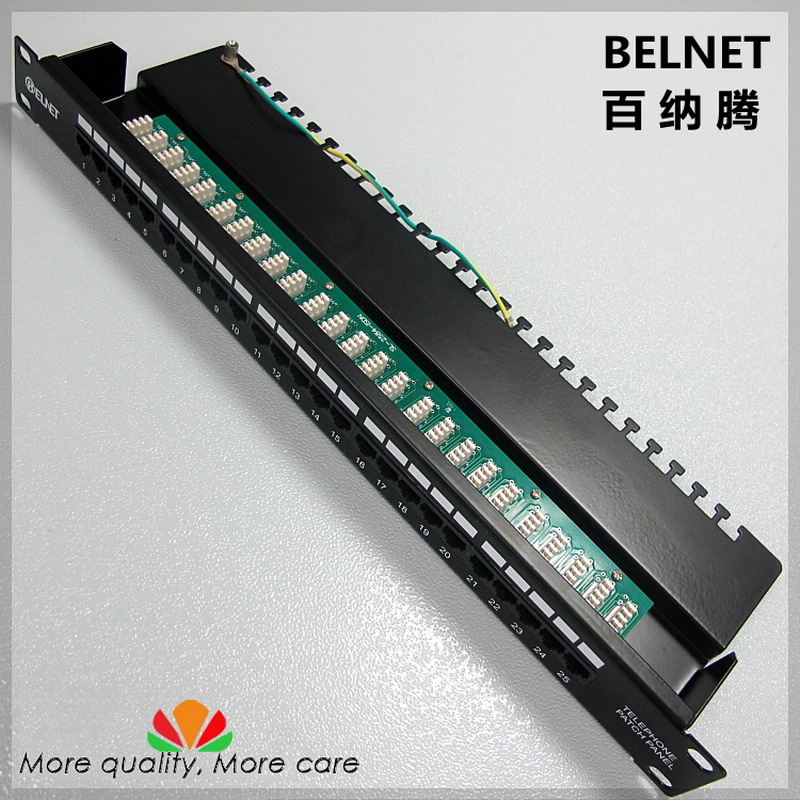 25-ports telephone voice patch panel telecommunication engineering grade 19-inch 1U PCB type RJ11 patch panel distribution frame growth of telecommunication services