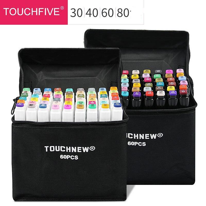Ensemble de marqueurs d'art couleur 30/40/60/80/168, croquis d'artiste à double tête, marqueurs à base d'alcool huileux pour marqueur d'animation