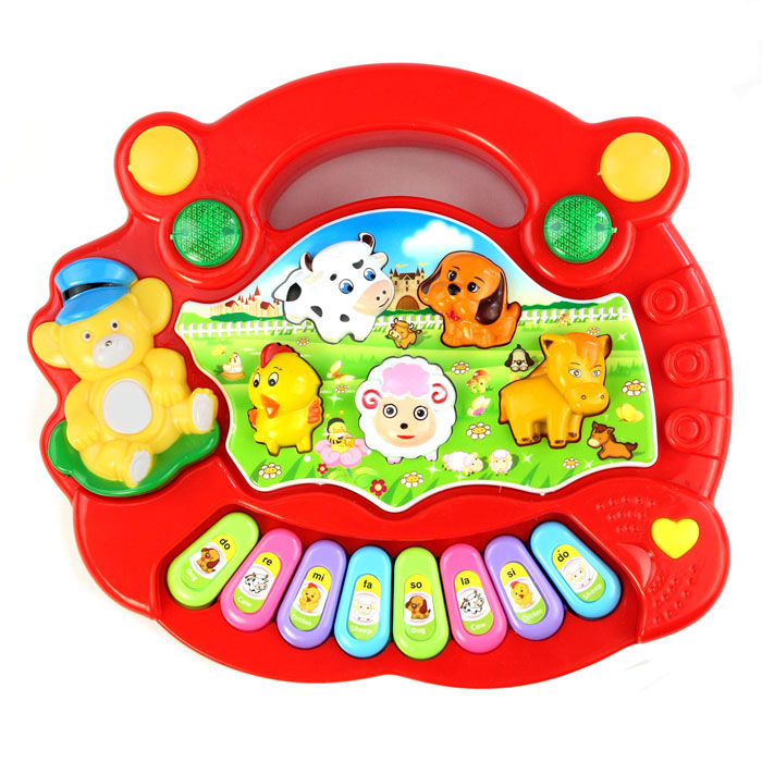 Hot Selling New Useful Baby Kid Animal Farm Piano Music Toy Developmental Red Good Gift For Children Learning Music