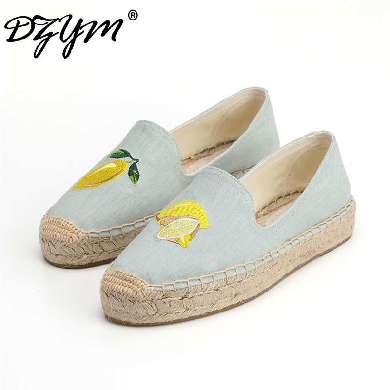 DZYM 2019 Summer Autumn British Canvas Espadrilles Women Fisherman Shoes Lemon Embroidery Knitting Loafers Sewing Zapatos