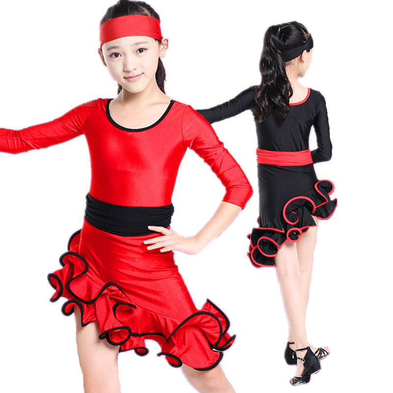 20pcs lot Free Shipping Red Black Competition Ballroom Dance Dresses for Kids Children Girls Cha Cha