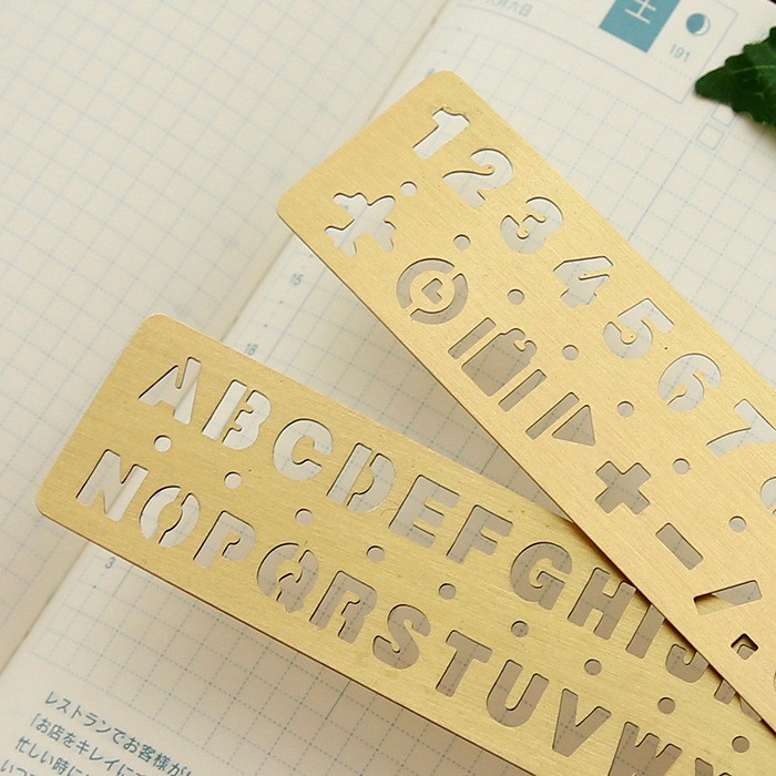 13cm Vintage Brass /digital Ruler/multi-function Painting Graffiti Template Ruler / Hollow Pattern  Drawing Template  Small