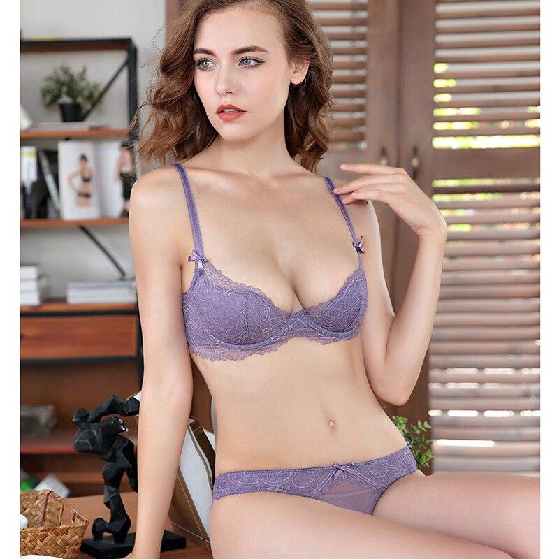 thin cup   bra     set   with panties Bandage Lingerie   Set   Charm Seduction Push Up Underwear Women Elegant Breathable