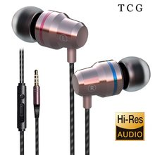 TCG In-Ear Wired Earphone Noice Canceling Headset Earbud HIFI Stereo with HD Mic Heavy Bass 3.5mm Volume Control(China)