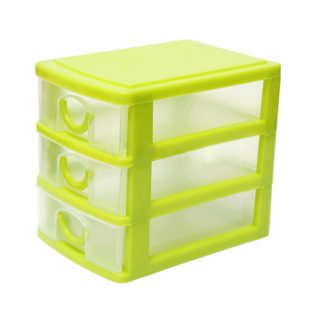 Storage Box with 3 Drawers Table Storage Box Jewelry Organizer Boxes Green ...