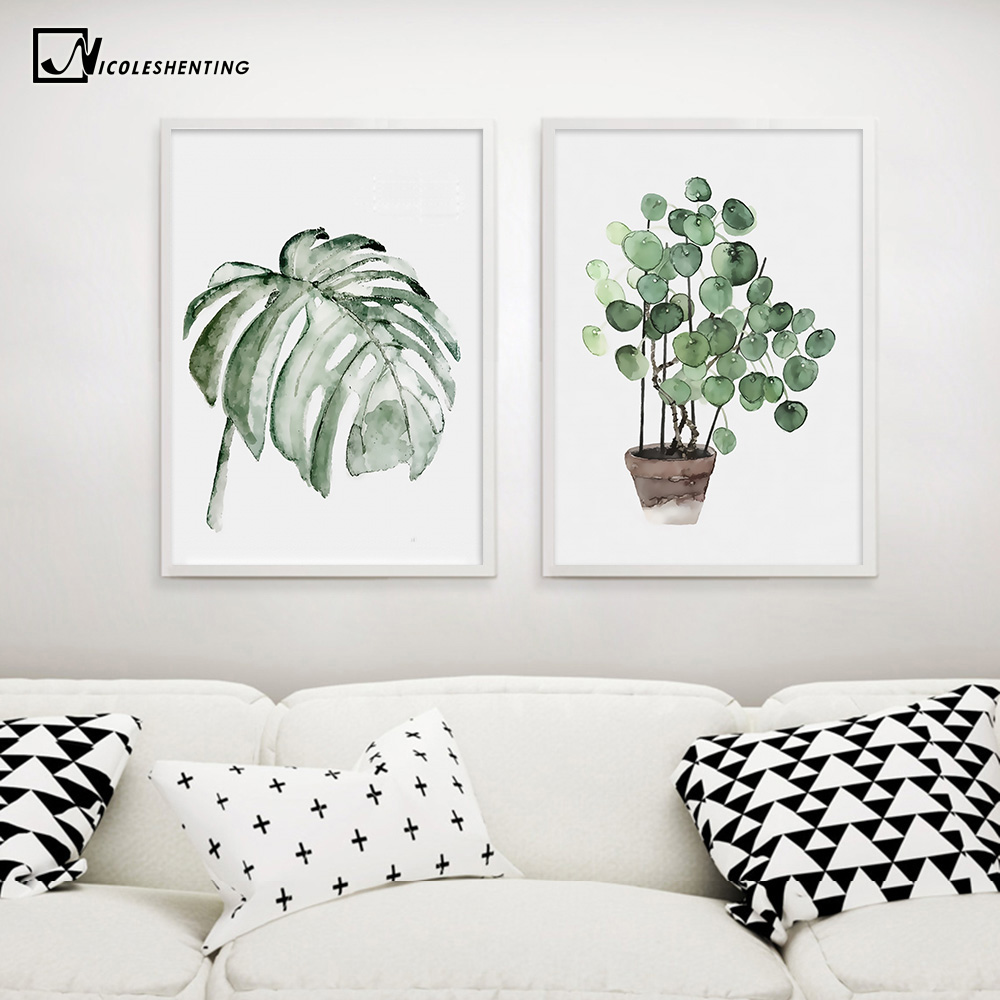 Watercolor Plant Leaves Poster Print Landscape Wall Art Canvas Painting Picture for Living Room Home Decor Watercolor Plant Leaves Poster Print Landscape Wall Art Canvas Painting Picture for Living Room Home Decor Cactus Decoration