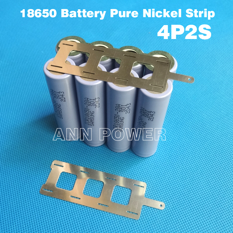 Free Shipping 18650 <font><b>battery</b></font> 2S4P nickel <font><b>belt</b></font> <font><b>batteries</b></font> <font><b>pack</b></font> nickel tape used for 18650 cell 4P2S connection pure nickel Strip