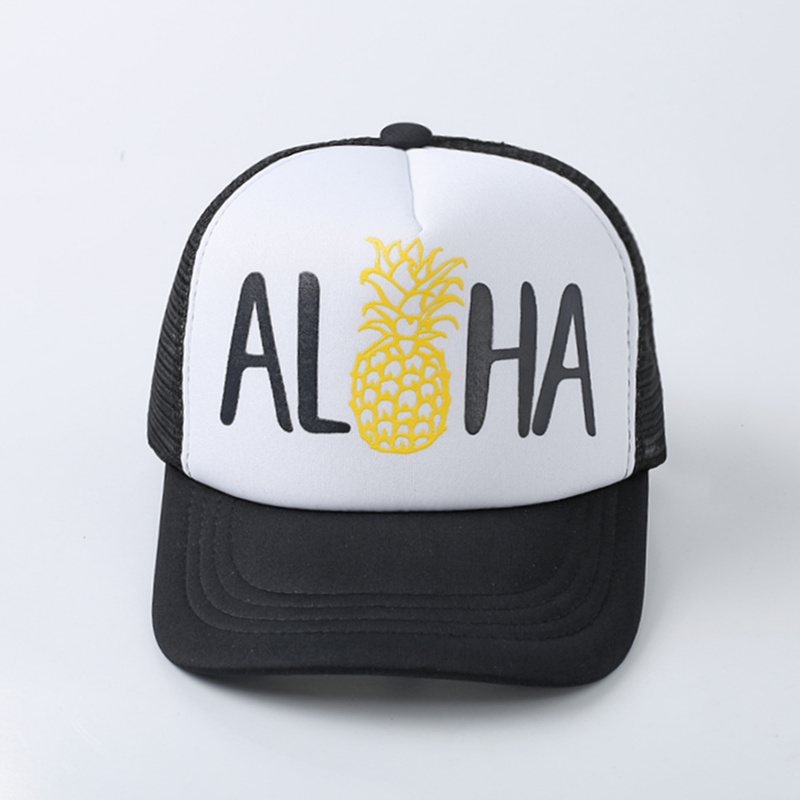 2018 new ALOHA Pineapple Print Baseball Cap Trucker Hat For Women Men Unisex Mesh Adjustable Size Drop Ship ming dynasty emperor s hat imitate earthed emperor wanli gold mesh hat groom wedding hair tiaras for men 3 colors
