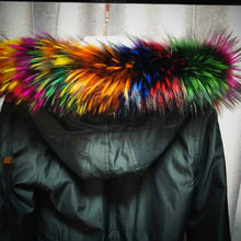 MIARA.L 2018 high quality and hot sale fox hat tops rainbow colored super large raccoon fur collar custom color style