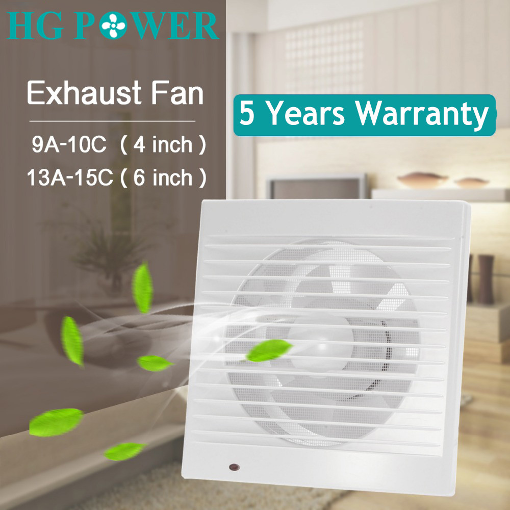 6 Inch Silent Household Exhaust Fan Air Grille Wall Window Extractor Ceiling Fan For Toilet Bathroom Kitchen Ventilation Vents