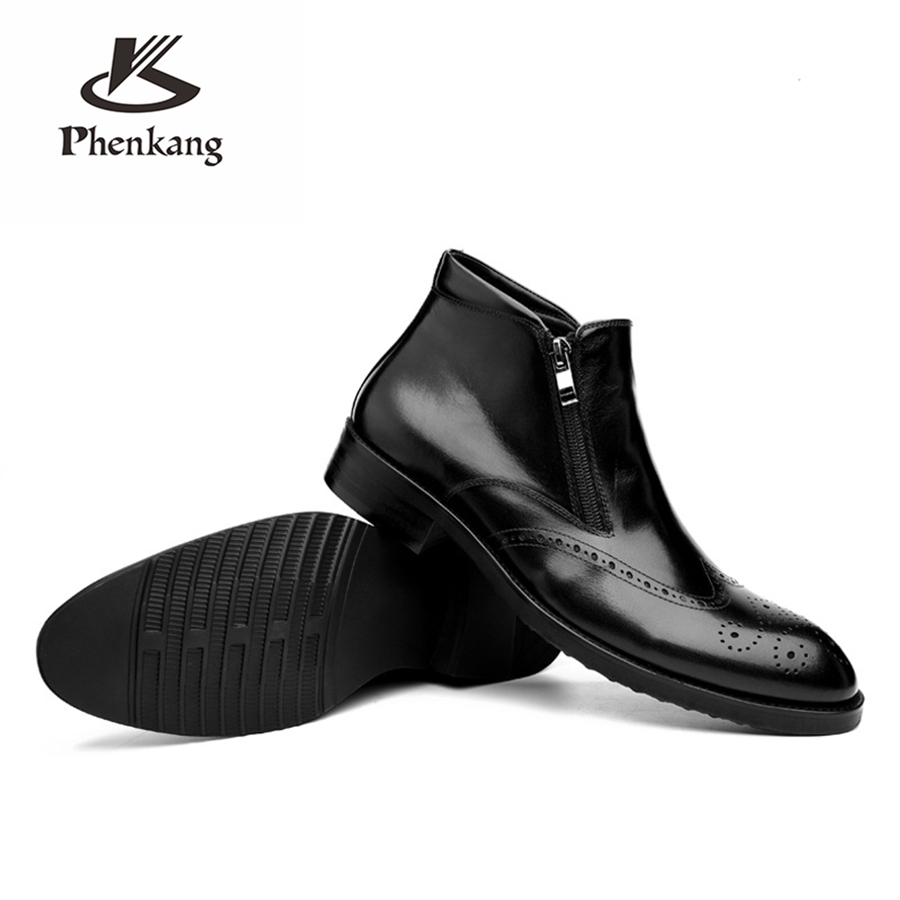 100 Genuine cow Leather men Ankle chelsea Boots shoes Handmade oxford shoes for men winter boots