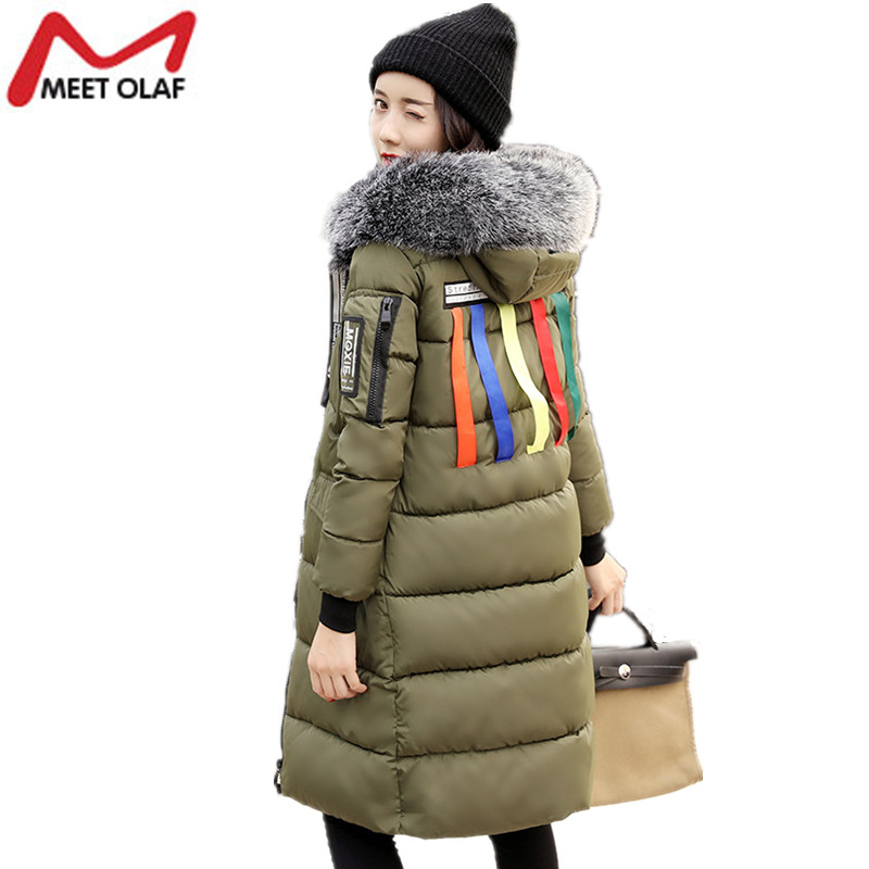 2017 Women's Long Parka Fur Hood Winter Down Jackets Woman Thick Warm Coats Cotton Padded Snow Wear Outwear Fashion Coat YL999 x long woman warm winter down coat camouflage brand really fur collar hood print down jackets with pockets size m 3xl