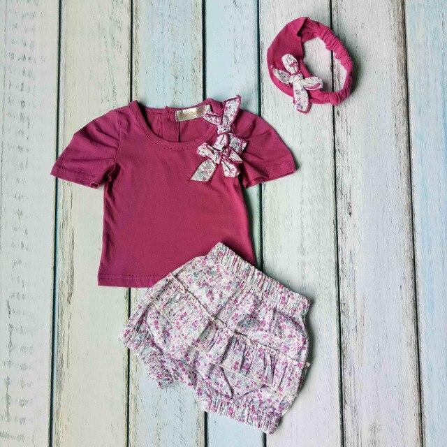 9a6ae4d00 Pettigirl 2019 Purple Newborn Baby Girl Princess Clothing Sets Cute Infant  Top+ Floral Shorts Toddler Kid