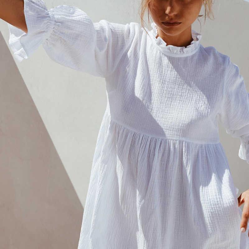 Женские свободные прямые белые мини-платья с оборками и эластичной резинкой на талии, платье-рубашка с рукавом до локтя, летняя мода 2019, женский сарафан в стиле бохо