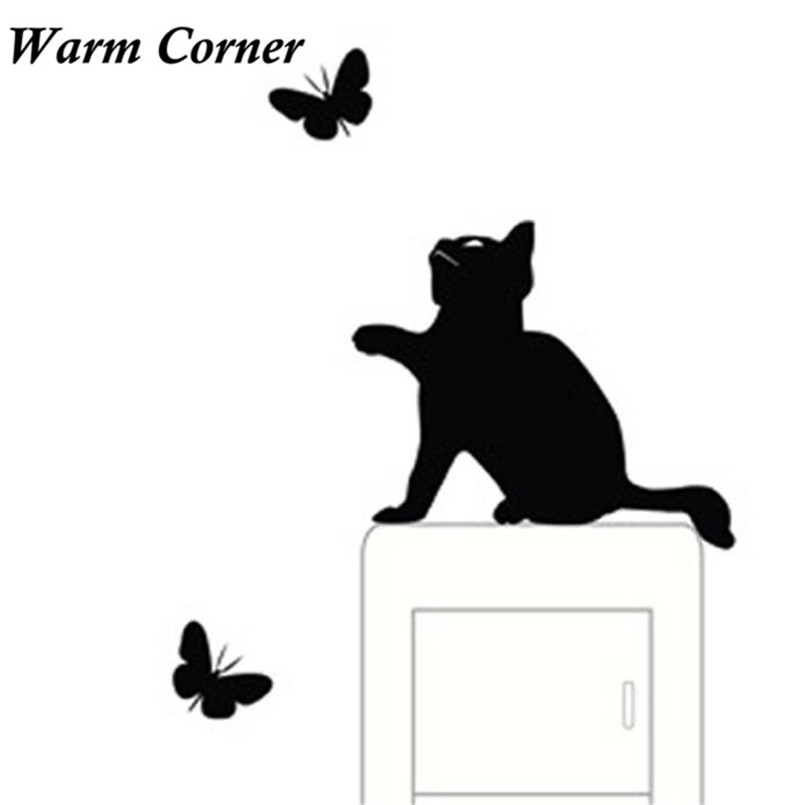 1set Switch Stickers PVC Hot Sales Room Window Wall Decorating Switch Vinyl Decal Black Cat Sticker