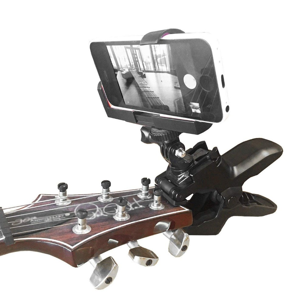 Guitar Headstock Cell Phone Clamp Clip Mount For Smartphones And Gopro Action Cameras - Close Up Home Recording