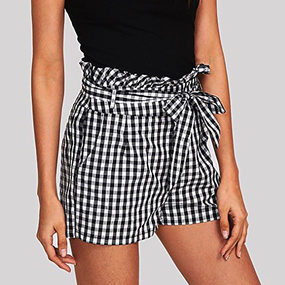 Womail Women   shorts   Summer Plaid Mid Loose Waist Hot   Shorts   Trousers Jersey Walking   Shorts   Skinny Daily denim color dropship j23