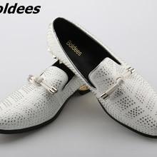 6b76eadec Boldees مصمم رجل سويدي عرضي حذاء الزفاف الأبيض ثوب حذاء حزب كريستال الرجال  المتسكعون عقدة التدخين