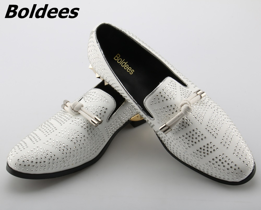 Boldees Designer Men Suede Casual Shoes White Wedding Dress Shoe Party Crystal Men Loafers Knot Smoking Slipper Male Flats Big S