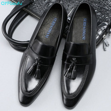 QYFCIOUFU New 2019 Fashion Genuine Leather High Quality Pointed Toe Dress Shoes Men Slip On Tassel Wedding Shoes Formal Shoes new women solid color suede flats heel pearl fashion high quality basic pointed toe ballerina ballet flat slip on shoes light