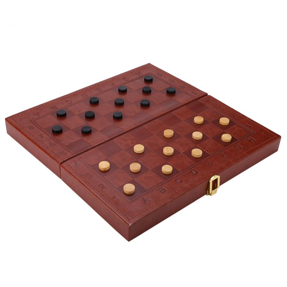 3 in 1 Portable Wooden Chess Checkers and Backgammon Board Game 13