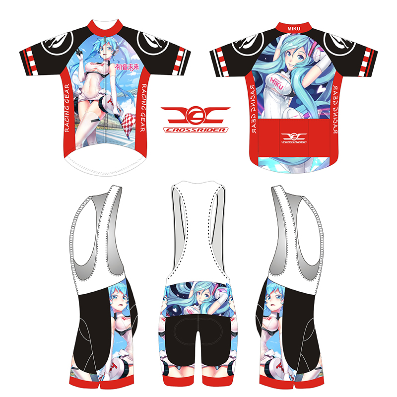 2018 short Sleeve Hatsune Miku Bicycle Cycle Clothing Mens Cycling Jersey set short Sleeve Outdoor Sports Quick Dry MTB jersey 2 topeak outdoor sports cycling photochromic sun glasses bicycle sunglasses mtb nxt lenses glasses eyewear goggles 3 colors
