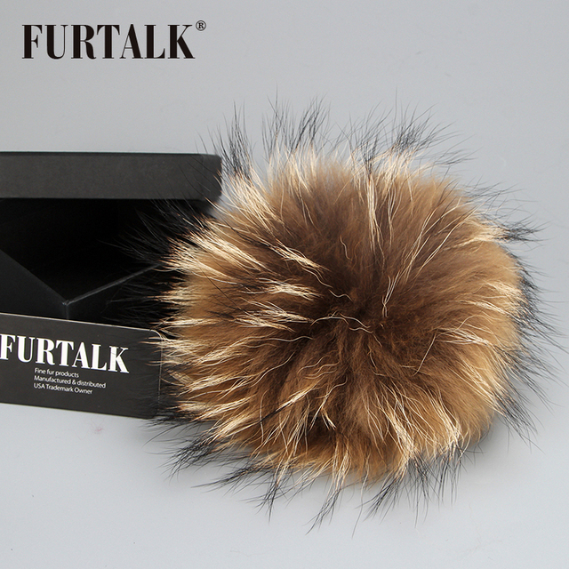 FURTALK real raccoon pom pom for pom pom hat put on hat and cap for winter women knitted fur hat