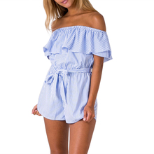 2017 Summer Jumpsuit Women Playsuits Ruffles Off Shoulder Striped strapless jumpsuit New Rompers Shorts ladies bodysuits