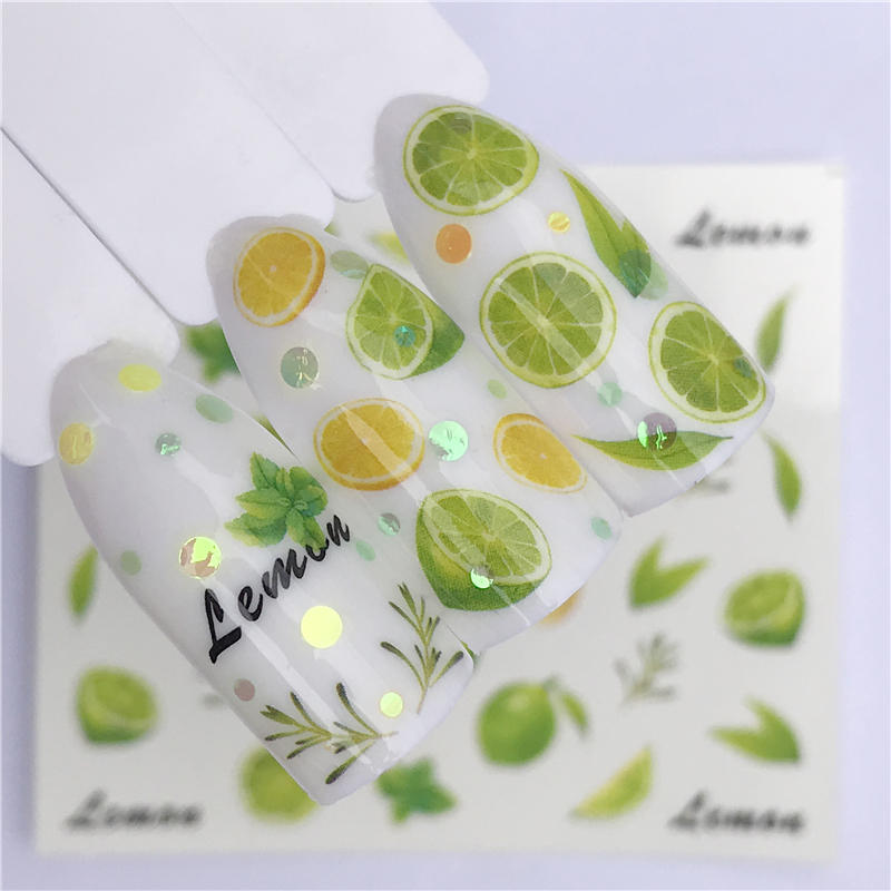 WUF 1PC Strawberry/Lemon Summer Fruit Drinking Stickers For Nails Manicure Nail Art Design Water Transfer Watermark Decals