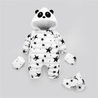 Winter Newborn Girl Coat Boy Real Duck Down Jumpsuit Snowsuit Panda Baby Rompers Overalls Kids infant Flannel Lining
