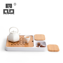 TANGPIN bamboo and ceramic tea trays table platters chinese kung fu accessories