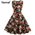Tonval 2017 Gorgeous Flowers Dress Vestido Casual Plus Size Dress Women Summer Vintage Floral Print Bow Dress