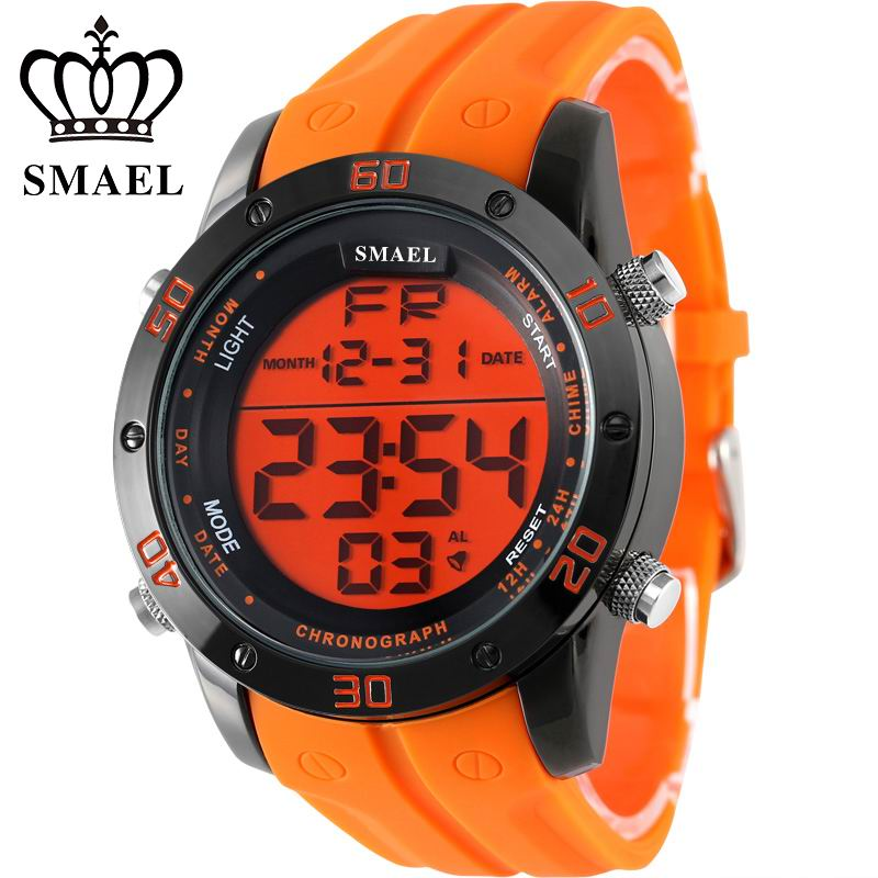 SMAEL Branded Fashion Casual Watches Men Orange LED Digital Sports Alloy Clock Male Automatic Date Army