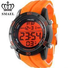 SMAEL De Marque De Mode Casual Montres Hommes Orange LED Numérique Sport Alliage Horloge Mâle Automatique Date de Army Men Montre-Bracelet 1145