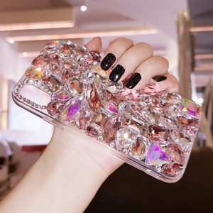 Image 2 - Luxury Crystal Gem Rhinestone Cases For iphone 11 12 Pro X XS MAX XR Soft Edge Clear Phone Cover For iphone 5S 6S 7 8 PLUS Capa