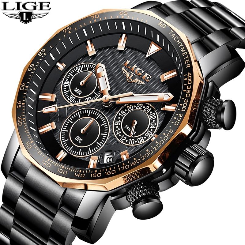Relogio Masculino LIGE montres hommes Top marque de luxe étanche Sport montre hommes montres à Quartz affaires de mode grand cadran horloge