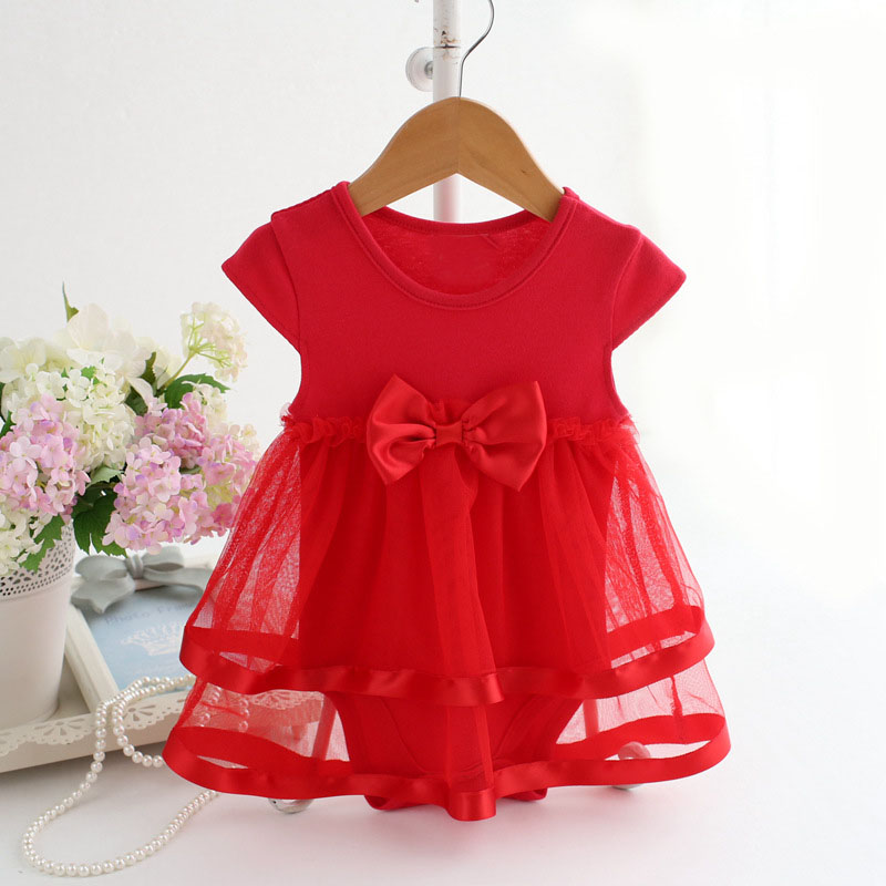 Bebé recién nacido vestido verano princesa bebé Mamelucos moda encaje arco  Niñas Ropa roupas infantil trajes ropa de bebé c779f3b17a00