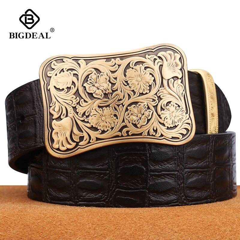 Cowhide Genuine Leather Belts For Men Brand Male Pin Buckle Jeans Cowboy Mens Belt Luxury Designer High Quality Leather Belt Men