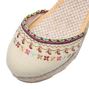 Image 4 - Veowalk Bohemian Women Canvas Wedge Espadrilles Sandals Handmade Linen Ankle Strap 7cm High Heel Platforms Comfort Summer Shoes