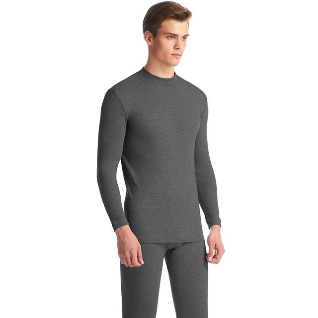 THREEGUN Underwear Winter Mens Warm Thermal Set Male Winter Bottoms Half High Collar Undershirts Thin Invisible Roupa Termica