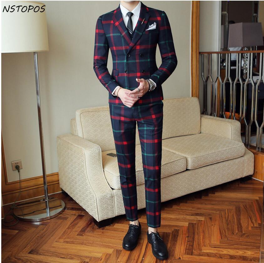 Red Plaid Suit For Men (Jacket +Vest+Pant) 2018 New Party Wedding Suits Men Costume Mariage Homme Check Male Suit British Style