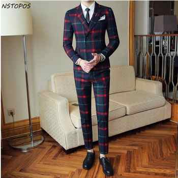Red Plaid Suit For Men (Jacket +Vest+Pant) 2018 New Party Wedding Suits Men Costume Mariage Homme Check Male Suit British Style - DISCOUNT ITEM  47% OFF All Category