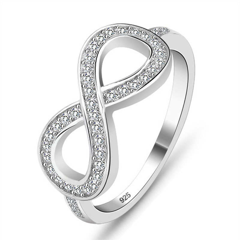 Sterling 925 silver ring fashion jewelry infinity crystal for Infinity ring jewelry store