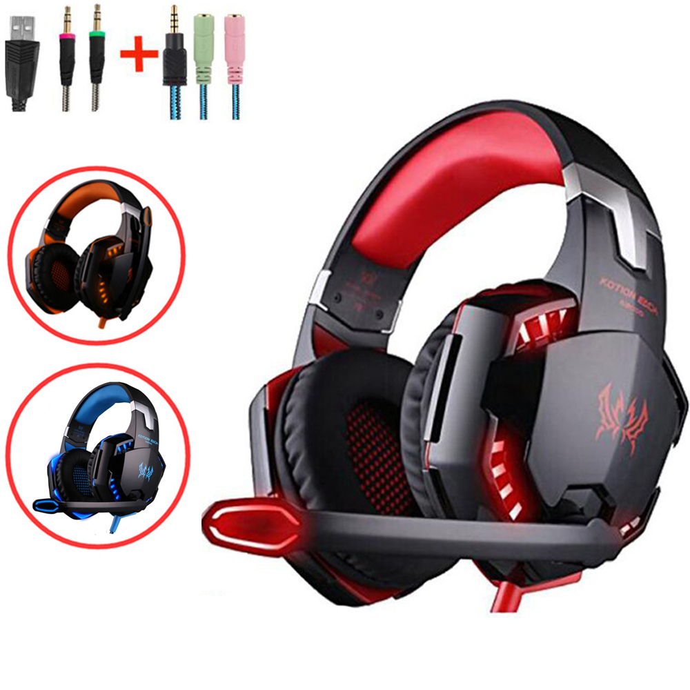 Kotion Each G2000 Big Gaming Headphones Gamer Headset with Microphone Led Light for PC Computer Iphone Samsung PS4 X-BOX teamyo n2 computer stereo gaming headphones earphones for mobile phone ps4 xbox pc gamer headphone with mic headset earbuds