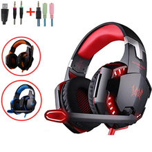 Kotion Each G2000 Big Gaming Headphones Gamer Headset with Microphone Led Light for PC Computer Iphone