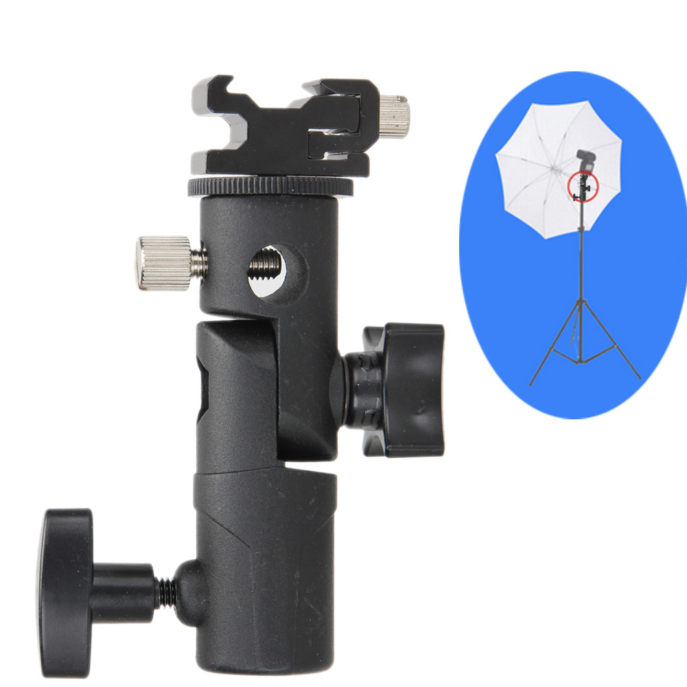 New Swivel Flash hot shoe umbrella holder Mount Adapter for studio light stand bracket type E universal cell phone holder mount bracket adapter clip for camera tripod telescope adapter model c
