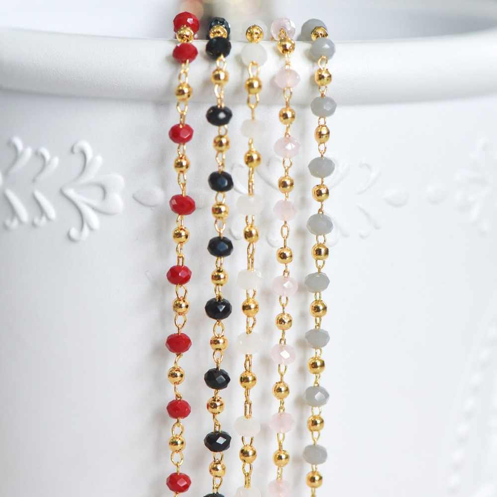 Gold Crystal Beaded Chains, Gold plated Brass Cable Chain, Glass Rondelles with Gold Round Beads (#LK-200)/ 1 Meter=3.3 ft