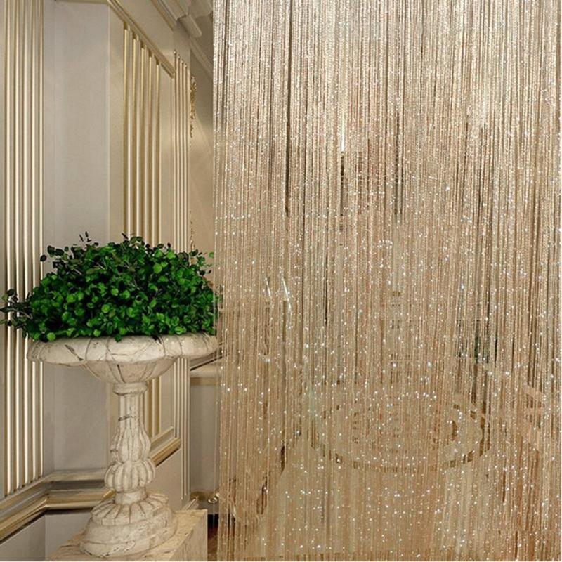 String Sparkle Curtains Patio Fly Screen Fringe Room Divider Door Window