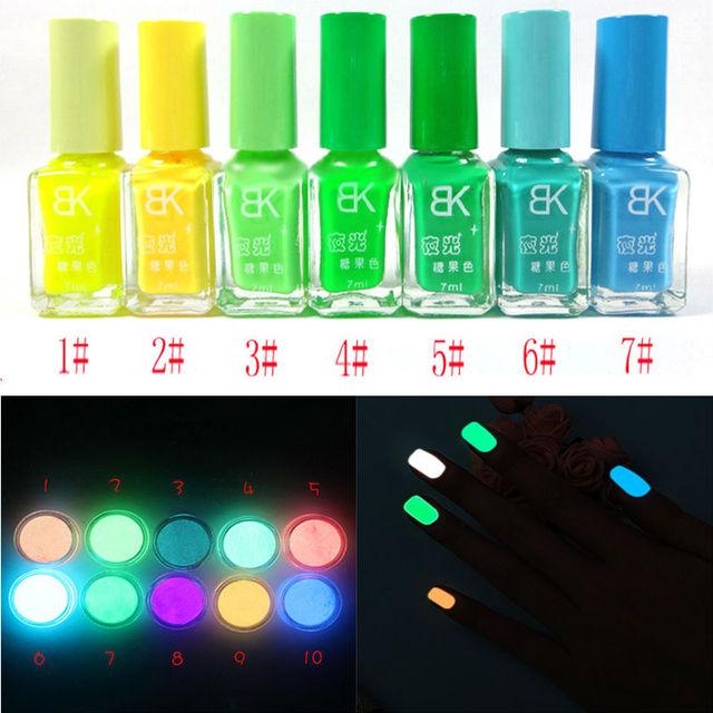 20 Colors Luminous nail polish Fluorescent Neon Luminous Nail Art Polish Glow In Dark Varnish Candy Colors 7ML Nail Polish